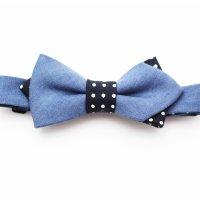 orgablanca DENIM blue×dots bow tie(オルガブランカ  デニムブルー×ドット蝶ネクタイ)